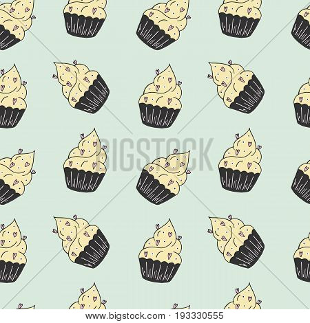 Yummy seamless pattern with sweet hand drawn color cupcake. Beautiful design elements for pastry shops coffee houses cafes