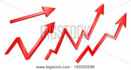 3d  bright graph arrows set  grow  red  exchange graphic arrows