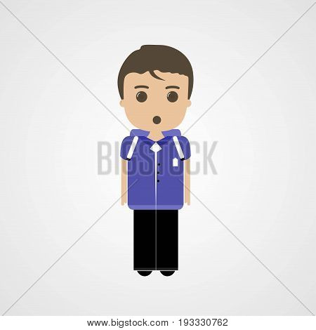 Confused Schoolboy Character Vector Illustration Eps File