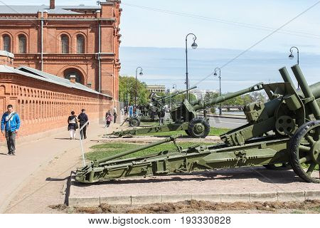 St. Petersburg Russia - 28 May, Cannon near the wall of the Military History Museum, 28 May, 2017. Military History Museum of combat equipment in St. Petersburg.