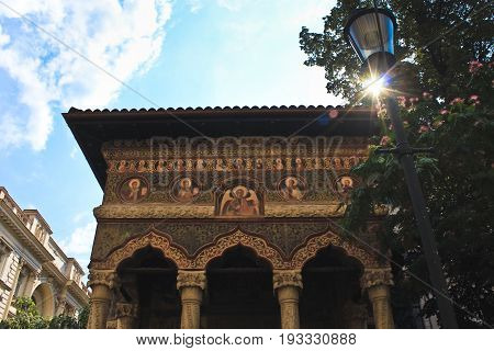 Bucharest, Romania - August 20, 2014: Inside yard of Stavropoleos Monastery in Bucharest, Romania on Lipscani Street was built in 1724. The name Stavropoleos means