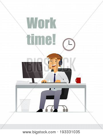 Time to work. Young man working on computer in office. Vector illustration