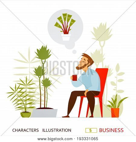 Office worker or a young businessman is resting among tropical plants and dreams of getting rich. A break in the time of work. Tea time. Concept, business. Vector illustration
