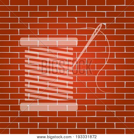 Thread with needle sign illustration. Vector. Whitish icon on brick wall as background.
