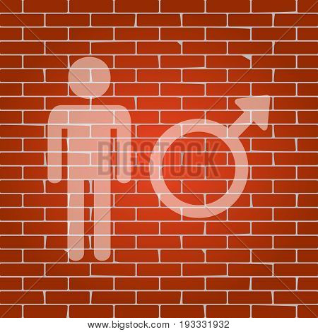 Male sign illustration. Vector. Whitish icon on brick wall as background.