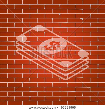 Bank Note dollar sign. Vector. Whitish icon on brick wall as background.
