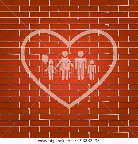 Family sign illustration in heart shape. Vector. Whitish icon on brick wall as background.