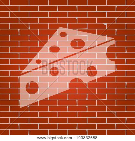 Cheese Maasdam sign. Vector. Whitish icon on brick wall as background.