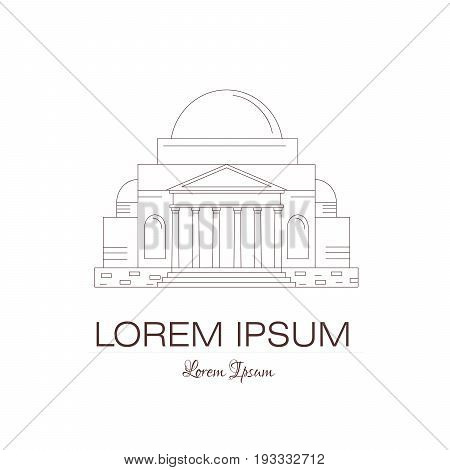 Classical building architecture made in line style vector. Church building of a bank theater museum or art gallery modern logo template.City constructor series.