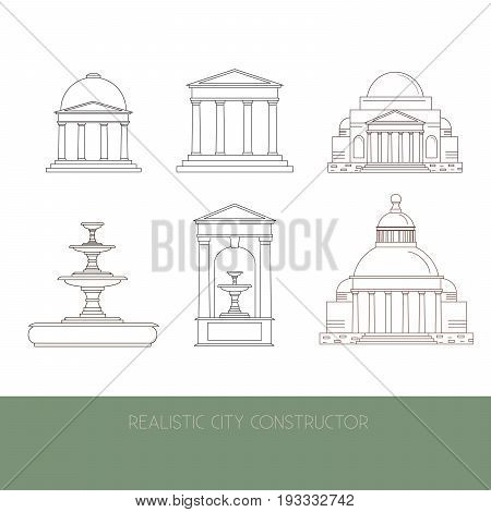 Classical Architectural collection made in vector. Illustration of fountain mansion temple alcove facade made in realistic style. Template for business card banner