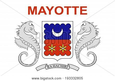 Flag of Mayotte is an insular department and region of France officially named Departement de Mayotte. Vector illustration