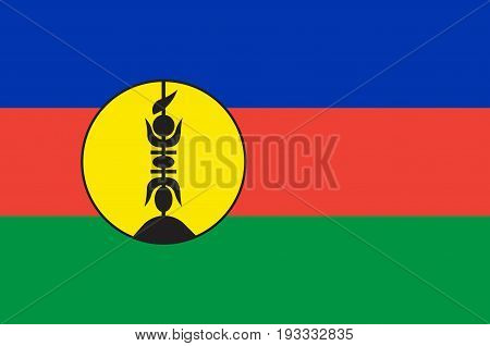 Flag of New Caledonia is a special collectivity of France located in the southwest Pacific Ocean east of Metropolitan France. Vector illustration