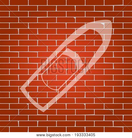 Boat sign. Vector. Whitish icon on brick wall as background.
