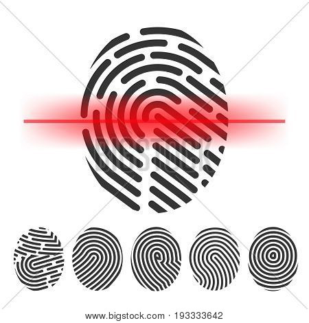 Finger print scanning vector  clipart  id  check  vector icon