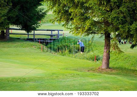 Golf player, facing away fron viewer, searching for lost ball in water stream and high grass