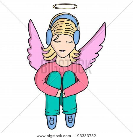 Girl-angel in headphones listens to music with closed eyes and hugging his knees. Head over to the halo. on the back wings. Vector isolated image. Cartoon style character.