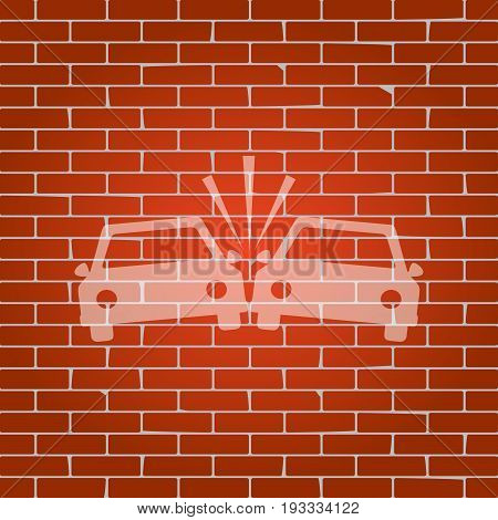 Crashed Cars sign. Vector. Whitish icon on brick wall as background.