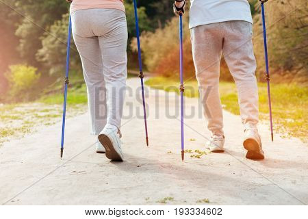 Walking equipment. Active sporty aged couple using walking poles and going along the footpath while practicing Nordic walking