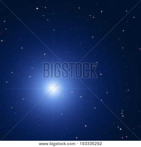 Milky way stars photographed with wide-angle lens. 2D render / illustration.