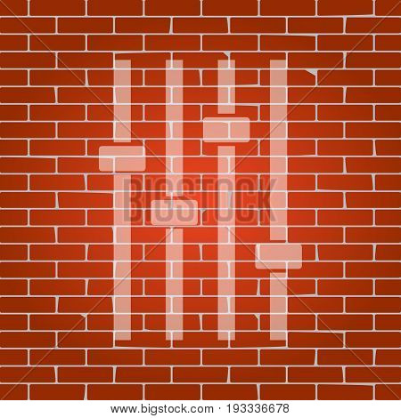 Adjustment music line sign. Vector. Whitish icon on brick wall as background.
