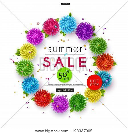 Summer Sale. 3D stylized multicolored flowers with leaves on striped background. Abstract floral origami pattern. Circlet of flowers. Paper art. Vector illustration