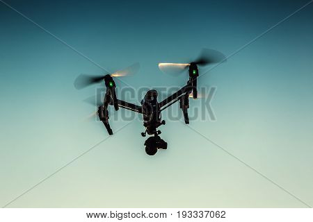 Varna, Bulgaria - July 09,2016: Image Of Dji Inspire 1 Pro Drone Uav Quadcopter Which Shoots 4K Vide