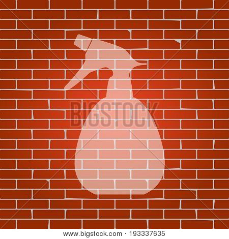 Spray bottle for cleaning sign. Vector. Whitish icon on brick wall as background.