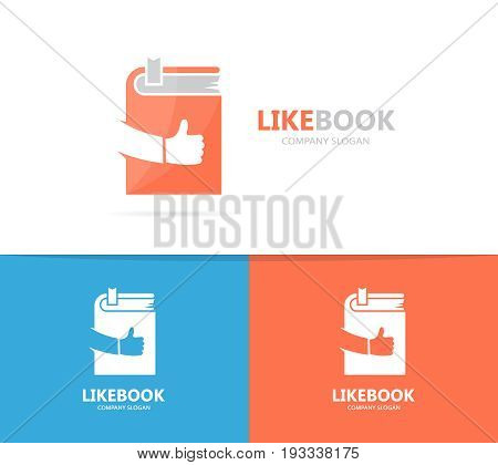book and like logo combination. Library and best symbol or icon. Unique encyclopedia and bookstore logotype design template.