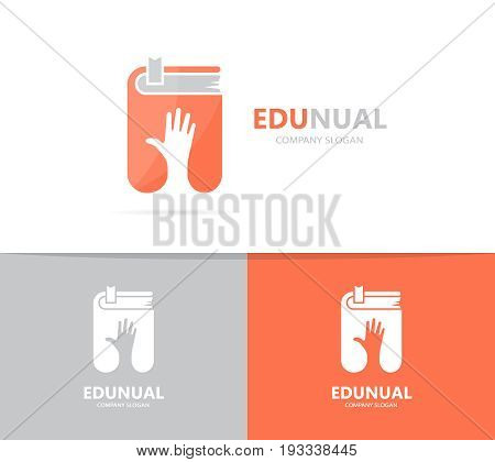 hand and book logo combination. Arm and library symbol or icon. Unique bookstore and support logotype design template.