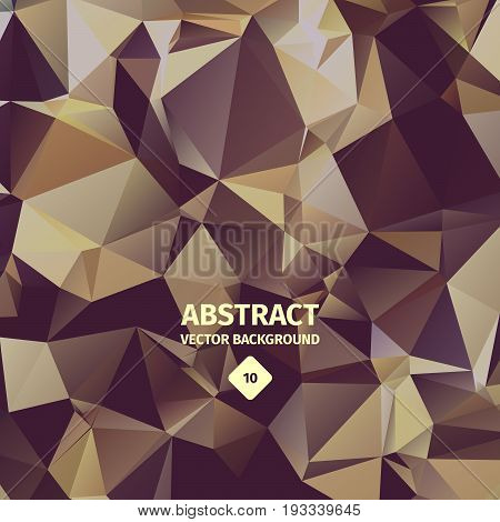 Triangle abstract background, bright brown color, paper folding beautiful design, decorative and representational forms of artwork. Vector illustration