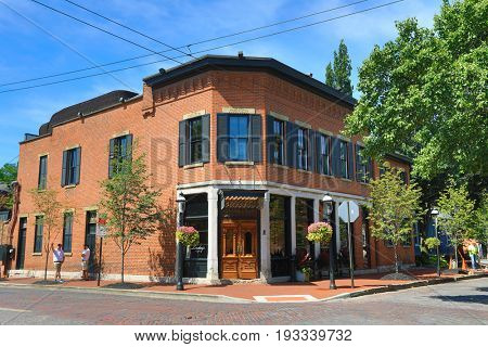 COLUMBUS, OHIO : JUNE 27, 2017:  Lindey's restaurant in German Village in Columbus, Ohio has been a landmark destinations for both locals and out of towners.