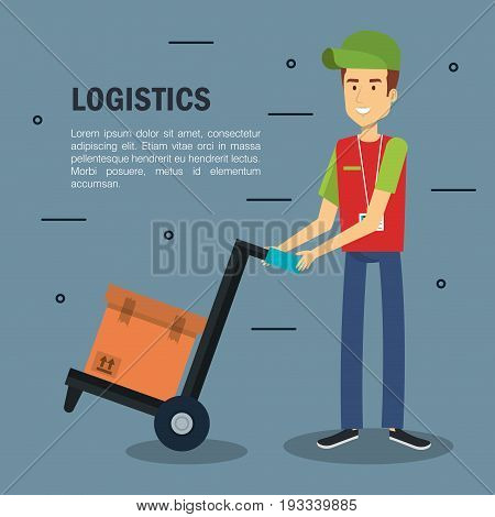 Delivery logistics infographic with male worker holding load carrier platform trolley and box over gray background