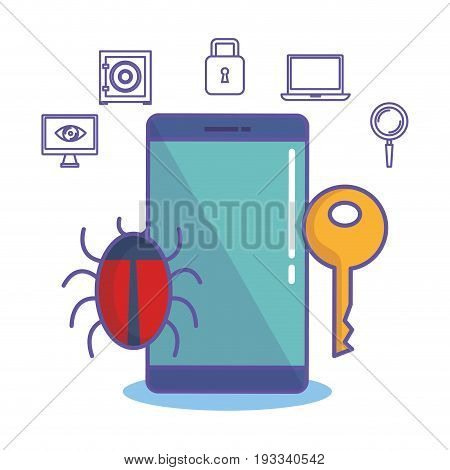 Smartphone with lady bug key and hand drawn cyber security related objects over white background