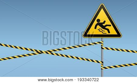 Caution - danger Beware of slippery. Safety sign. The triangular sign on a metal pole with warning bands. Industrial Design. Vector illustration.