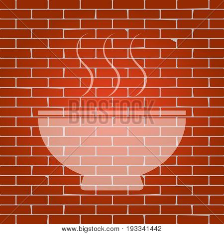 Soup sign. Vector. Whitish icon on brick wall as background.