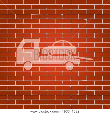 Tow car evacuation sign. Vector. Whitish icon on brick wall as background.