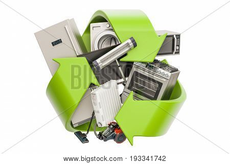 Green recycle symbol with household appliances 3D rendering