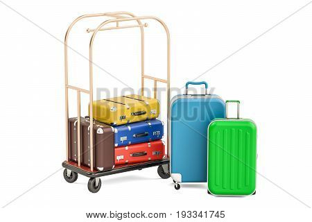 Luggage cart or hotel trolley with colored suitcases 3D rendering isolated on white background