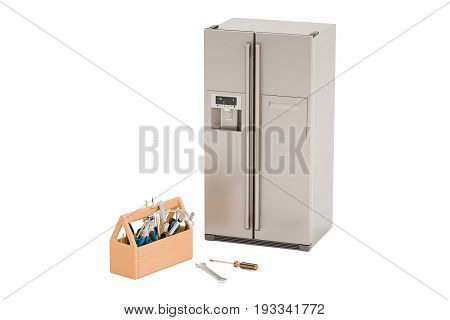 Service and repair of fridge concept. 3D rendering isolated on white background