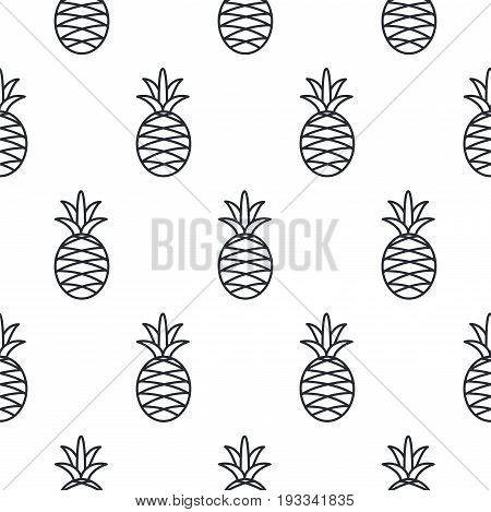 Pineapple line icon seamless vector pattern. Fruit outline tileable white and black background.