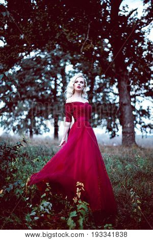 Fashion Gorgeous Young Blonde Woman In Beautiful Red Dress In A Fairy-tale Forest. Magic Atmosphere.