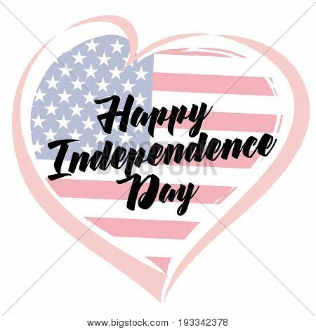 Independence Day Love USA emblem. Happy Independence Day, July 4th - Fourth of July, American Flag in vector heart