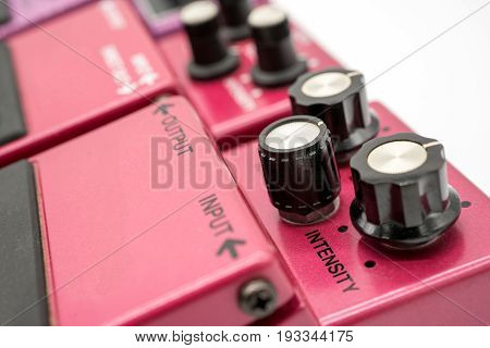 Close-up Detail Of Vintage Guitar Pedals