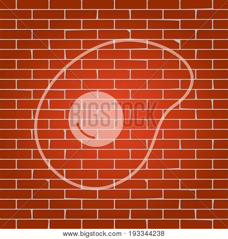 Omelet sign. Flat designed style icon. Vector. Whitish icon on brick wall as background.