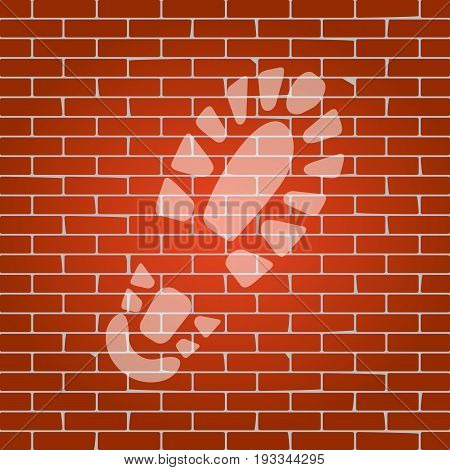 Footprint boot sign. Vector. Whitish icon on brick wall as background.