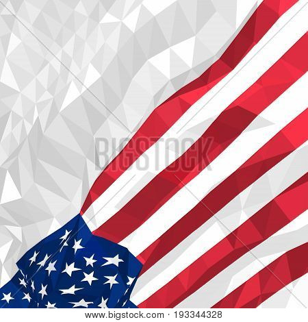 Polygonal American flag waving in the wind. Template for postcards, covers, flyers, posters, congratulations for American national holidays - Independence Day, Memorial Day, Veteran's Day, etc.