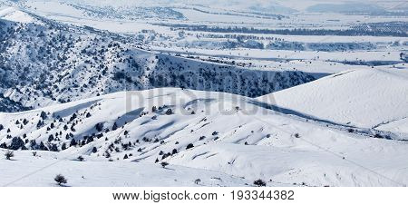 White snow in the steppes of Kazakhstan as a background .