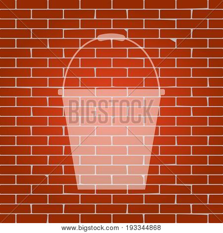 Bucket sign for garden. Vector. Whitish icon on brick wall as background.
