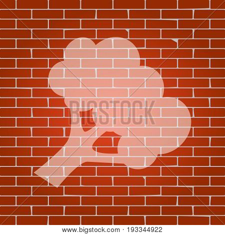 Broccoli branch sign. Vector. Whitish icon on brick wall as background.