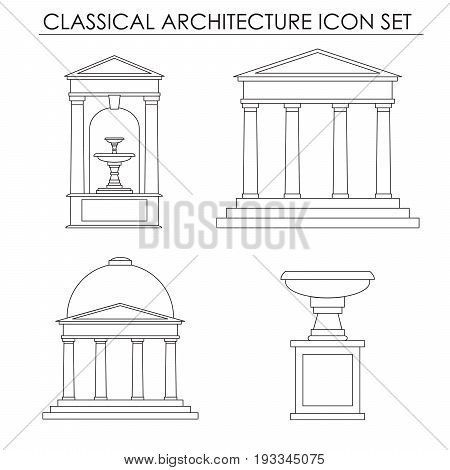 Vector collection of classical small architectural forms isolated on a background. Vector template for business card and banner.